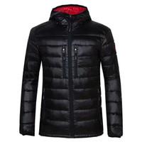 neue mode mäntel männer großhandel-Winterjacke Herren-Bekleidung 2018 Neue Marke mit Kapuze Parka Cotton Kanada Mantel-Männer warm halten Gans Jacken Mode Mäntel 7696