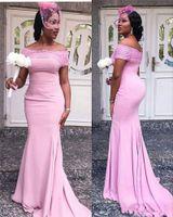 uzun pembe straplez elbiseler toptan satış-2019 Pembe Straplez Mermaid Uzun Gelinlik Modelleri Aplike Dantel Lüks Leke Onur Ile Afrika Kadınlar Hizmetçi Elbise Parti Düğün Konuk