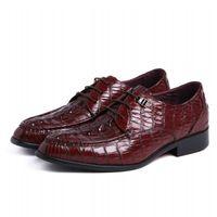 красная формальная обувь для мужчин оптовых-Med High Heel Cow Leather Red Italy Oxfords Shoes Party  Crocodile Dress Formal Shoes Men Round JS-A0086