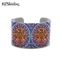 mexikanische armbänder großhandel-New Mexican Painting Huichol Art Armreif Böhmen Stil Armband für Frauen und Geschenke Aluminium Metall Armreifen