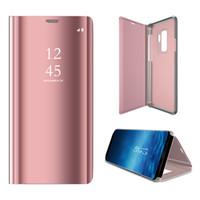 ingrosso copertina posteriore onore-Smart View Cover Mirror Flip Case per Huawei P20 Pro Nova 3 Mate 10 20 9 Lite Pro Honor 10 P10 P9 P8 Custodie per cellulari Back Cover Stand Funzione