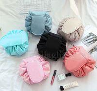 nueva bolsa corea al por mayor-Magic Lazy Cosmetic Bag Nueva bolsa de maquillaje portátil Bolsa de viaje Bolsa de cosméticos Estilo de Corea Cordón impermeable LJJS05