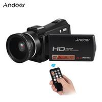 полный hd видеокамеры cmos оптовых-Andoer HDV-V7 PLUS видеокамера 1080P Full HD 24MP Портативная цифровая видеокамера ночного видения+0.45 X широкоугольный объектив