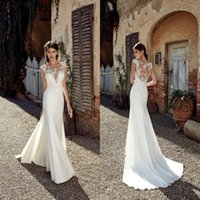 Wholesale beads detailing for sale - 2019 New Designer Beach Mermaid Wedding Dresses Sexy Lace Applique Beads Sheer Neck Floor Length Bohemian Cheap Bridal Gowns