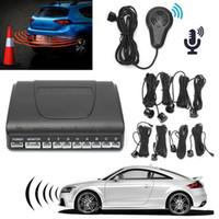 Wholesale human voice resale online - 8 Parking Sensors Car Reversing Radar Buzzer System With Human Voice Alarm Kit Front Rear Car Parking Reverse Sensors Systems