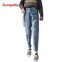 mavi harem pantolon kadınlar toptan satış-Yüksek Bel Kot Kadın Kadın Gevşek Harem Denim Pantolon Femme Mavi Rahat Vintage Retro Ayak Bileği uzunlukta Için Pantolon