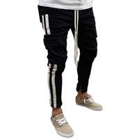 сумки штаны оптовых-Men's Autumn Winter New Fashion Black Multi Bag Young Cowboy Pants 2019 Hot cargo pants jeans men Clothing W313