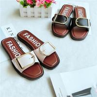 ingrosso bottoni di mop-Estate nuove scarpe da donna a casa in stile pulsante rosso moda versione coreana del trend di sandali scarpe indossando pantofole moda fuori