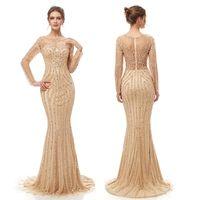 mostrar vestidos de baile venda por atacado-2019 Lantejoulas de Sereia De Luxo Sexy Bainha Vestido Sparkly Prom Party Dresses Dubai Show de Mangas Compridas Sheer Bodice Vestido de Noite 5405