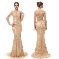 mostrar vestidos de fiesta al por mayor-2019 lentejuelas de sirena de lujo sexy vestido de funda brillante vestidos de fiesta de baile Dubai Show mangas largas Sheer blusa vestido de noche 5405