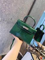 Wholesale purple crocodile handbag for sale - Group buy designer handbags Crocodile pattern Katy women fashion totes mini size shoulder cross body H K purses bag with box