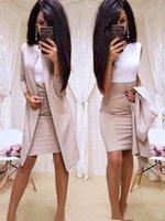 ofis kadınları için resmi elbiseler toptan satış-Ofis Bayan Resmi Elbise 2019 Yeni Iş Elbisesi Kadın Uzun Blazer Ceket Kılıf Elbise Suits 2 Parça kadın Setleri