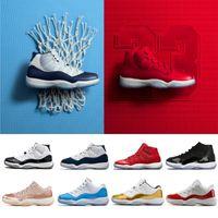 altın tenekeler toptan satış-Sıcak 11 11'leri Basketbol Ayakkabı yüksekten düşüğe le mavi Space Jam Erkekler kadınlar Altın Platin Kalay Concord 23 45 Midnight Navy Bred J11 Sneakers Rose