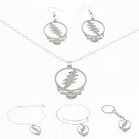 Wholesale inspire pendants resale online - Stealie Symbol necklace Silver tone Grateful dead inspired stealie deadhead music festivals Jewelry keyring bangle earring