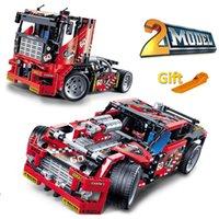 bloques de construcción set coches al por mayor-608 unids Race Truck Car 2 en 1 modelos de bloques de construcción transformable Decool 3360 Diy juguetes compatibles con Technic 42041 J190722