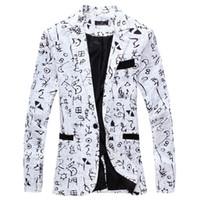 erkekler şık blazerler toptan satış-2019 Keten tasarımcı Erkekler Giyim Lüks Tasarımcı Erkek Blazer Ceket baskı Şık Fantezi Marka çiçek Erkekler Suits Blazers