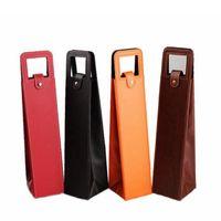 ingrosso confezioni regalo di vino imballaggio-Sacchetti di vino portatili di lusso in pelle PU Scatole per l'imballaggio di bottiglie di vino rosso Confezione regalo con accessori per manubrio RRA2008