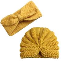 ingrosso neonato ha lavorato a maglia gli insiemi-Moda Neonato Toddler Bambini Baby Boy Girl Turbante in cotone a maglia Beanie Hat Winter Cap fascia 2pcs Set