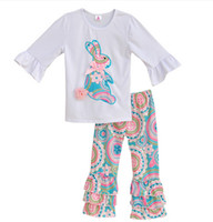 EASTER Toddler Girl Boutique Outfits Baby white Ruffle sleeve Tops + floral print Pant 2pcs set Spring Fall