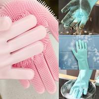 ingrosso guanti puliti in lattice-Piatto silicone singolo lavaggio guanto cibo per cani Spazzola per autolavaggio guanti di pulizia Lavatrice Lavastoviglie guanti degli accessori da cucina