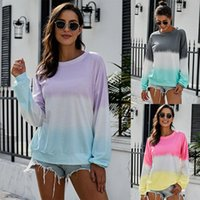 Wholesale rainbow striped clothing for sale - Group buy Women Rainbow Gradient Hoodie Autumn long sleeves striped pullover Patchwork Casual weatshirts Tops Clothes T shirt shirts Tee