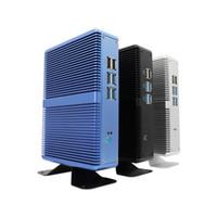 computadora central i5 al por mayor-Nueva llegada tricolor Intel Core i5 7200U sin ventilador Mini PC Window10Linux Nettop Ordenador WIFIBluetooth tres años de garantía 7ª generación