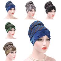 колпачок абая оптовых-Abaya Women Muslim Beanie Cancer Hat Chemo Cap Hair Loss Head Wrap Cover Stripes  Islamic Slouch Hat Bonnet Turkey Arab New