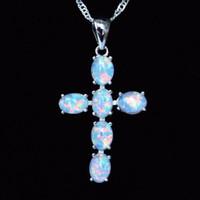 Wholesale blue fire opal pendants resale online - Cool Christian Cross Design White Blue Fire Opal Pendant Necklace