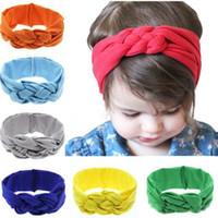 bebek düğüm kravat baş bantları toptan satış-Moda Bebek Düğüm Bantlar Pamuk Headwrap Katı Çapraz Düğüm Türban Kravat Headwrap Bebek Kızlar Için Sevimli Şapkalar