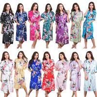 Wholesale weddings beige dresses for bridesmaids resale online - Long Silk Satin Wedding Bride Bridesmaid Robe Floral Bathrobe Kimono Robe Night Bath Fashion Dressing Gown For Women