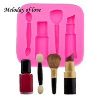 Wholesale lipstick rubber resale online - Makeup tools lipstick nail polish chocolate Party DIY fondant cake decorating tools silicone mold dessert moulds