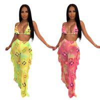 dantel örgü bikini toptan satış-C Harf Kadınlar Tasarımcı eşofman See-olsa Mesh İki Adet Bikini Kıyafetler Batik Lace Up Sütyen + Ruffles Pantolon Beach Club Bezi C62804 Tops