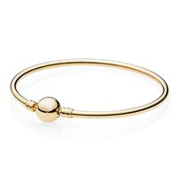 Wholesale gold bangle anklets for sale - Group buy New Sterling Silver Anklets Gold Color Ball Clasp Clip Suitable Smooth Bracelet Bangle Fit Bead Charm DIY Original Jewelry