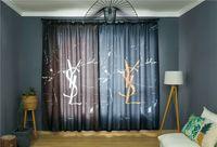 tasarlanmış perde toptan satış-Popüler Logo Perde Dize Kapı Pencere Odası Moda Perde Asimetrik Tasarım Dekoratif Mektup Perde Yatak Odası Için
