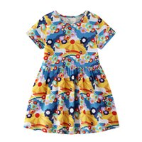 ea4494a2ea56 Unicorn Dresses Short Sleeve Girl Summer Dress Animals Appliqued Striped  Cotton Princess Jersey Baby Dress Designer Children Clothing 2-7T