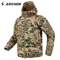 camuflaje de ropa militar táctica al por mayor-S.ARCHON Shark Skin Soft Shell Tactical Military Jacket Hombres Fleece Waterproof Army Clothing Multicam Camouflage Windbreakers MenMX190828