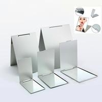 серебряное прямоугольное зеркало оптовых-1pcs Foldable Ultra-thin Cosmetic Mirror Vanity 5 Sizes Make Up Silver Folding Mirror Rectangle Pocket  Decorative