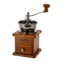 vintage öğütücü toptan satış-Mini Retro Kahve Öğütücü Manuel bağbozumu Ahşap Kahve çekirdeği değirmenleri öğütücüler Mutfak Taşlama Aletleri Parfümeri Cafe Bar El yapımı kahve değirmenleri