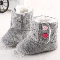 bebek tığ işi kar pamuk çizmeleri toptan satış-Bebek Kız Kış Kar Botları Tığ Örgü Polar Bebek ayakkabı Toddler Yün Bebek Sıcak Yumuşak Sole İlk Walkers Pamuk Alt Ayakkabı