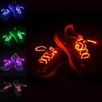 cordones de neón brillantes al por mayor-Cordones de LED Cordones de zapatos Luz intermitente Luz de encendido Correa de palo de neón Cuerdas de zapatos de neón Cordones luminosos Disco Party 2pcs / set