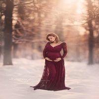 anne etekleri toptan satış-Hamile Kadın Elbise V Yaka Dantel Uzun Etek Uzun Kollu Katı Renk Baskı Desen Ekstra Uzun Hamile Anne 15