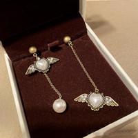 Wholesale heart wing earrings resale online - New Fashion Earrings Gold Plated Pearl Heart Angle Wings Earrings for Girls Women for Party Wedding Nice Gift