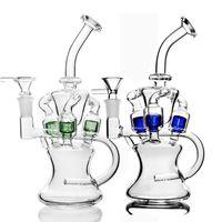 shisha pipe achat en gros de-Nouveau design verre bang dab rig avec percé coloré en ligne double fonction pipe à eau shisha bangs communs de 14mm pour fumer 9