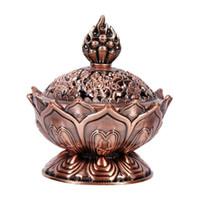 décoration de brûleur d'encens achat en gros de-Bouddha alliage brûleur d'encens chinois Fleur de Lotus Porte Encens main encensoir pour bouddhiste Accueil Bureau Décoration 2 couleurs