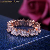 Wholesale fashion brass finger rings resale online - New Fashion Zircon Cz Wedding Ring Irregular White Cubic Zircon Finger Rings Fit to For Women Jewelry Party Gift