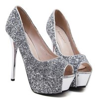 Wholesale bridal clear sequins resale online - glitter silver sequins bridal wedding shoes high heel platform peep toe pumps size to