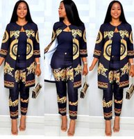 venta bohemia estilo ropa al por mayor-2 unids / set (L-4XL) New African Print Elastic Bazin Baggy Pants Rock Style Dashiki manga traje famoso para la señora 3 colores
