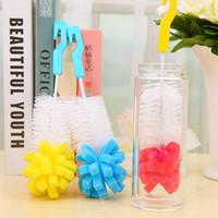 schwammschalenreiniger großhandel-Babyflaschenbürsten Reinigungsbecher Pinsel Kinder Fütterung Reinigungsbürste Schwamm Babyflaschenbürste 3 Farben HHA481