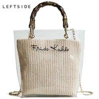 97b7343ba77f6 LEFTSIDE Summer Nice Small Handbag Transparent Women Hand Bags Chain Straw  Bag Lady Travel Beach Shoulder Cross Body Bag Holiday
