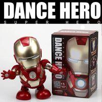 brinquedos eletrônicos presentes venda por atacado-Homem de ferro de dança figura de ação robô de brinquedo led lanterna com som vingadores homem de ferro hero eletrônico toy kids presente toys